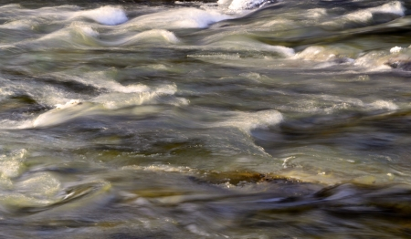 wild rivers flow with white and brown rapids green tinge