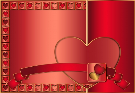 Valentine background decorated in red color of gold and contours with ribbon photo
