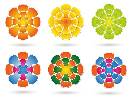 different combinations of colored mandala on white background Stock Photo - 17882062