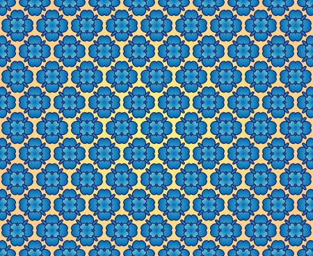 Medieval background with blue roses contours on orange color