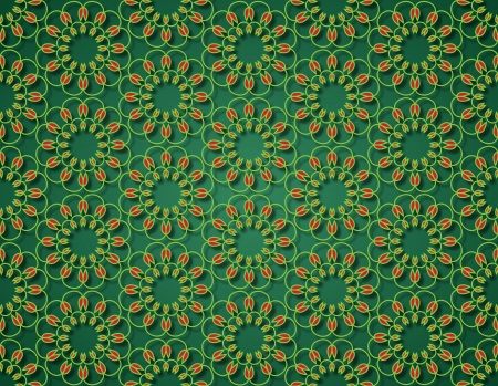 deep green background with yellow tulip flowers contours Stock Photo