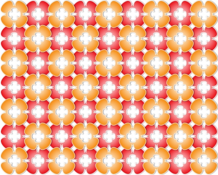 White background with red and orange flowers do color
