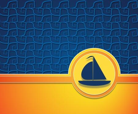 textura: Canottaggio inserzionista con spazio per il testo e la barca a vela blu