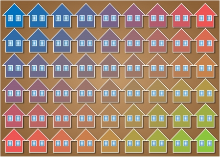 regularly: texture formed by regularly spaced houses of different colors group home
