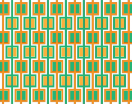 regularly: Abstract pattern of orange and green squares regularly distributed over the area