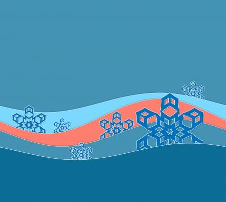 snow drift: background winter card a snow drift blue pink color Stock Photo