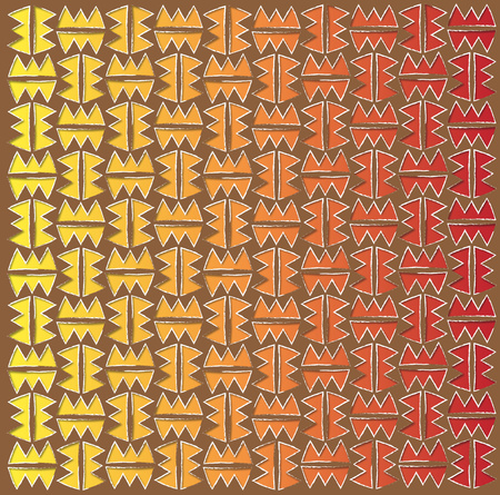 fabric Mexican fiery pattern orange and red color photo