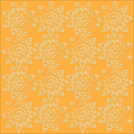 white the outline sun fabric pattern on orange background