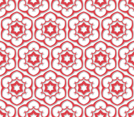 flowered: background or fabric pink six pointed flowered pattern Stock Photo