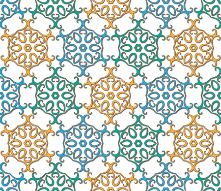 background or fabric six-pointed oriental floral pattern Stock Photo