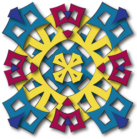 abstract fullcolor fabric stylized aztec mandala sun photo