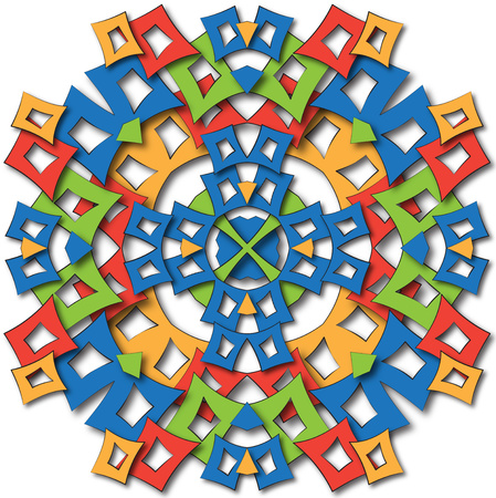 abstract fabric full color stylized aztec mandala photo
