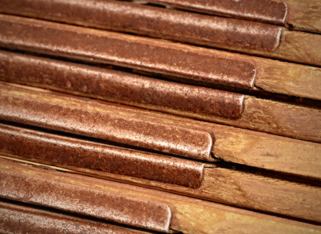 background metal hinges detail old wood folding rule Stock Photo