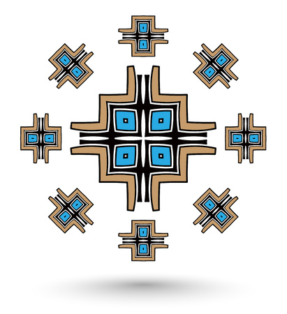 abstract aztec cross mandala blue and brown color Vector