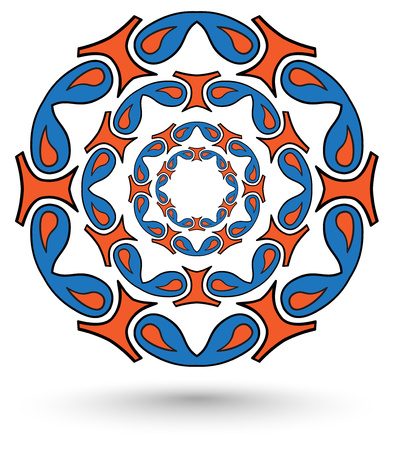 abstract mandala tribal blue and orange color photo