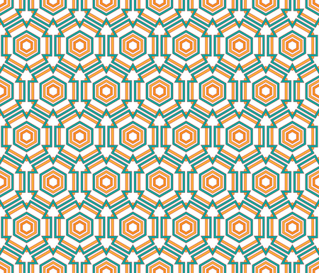 background or fabrik orange and green hexagon linear pattern Stock Photo