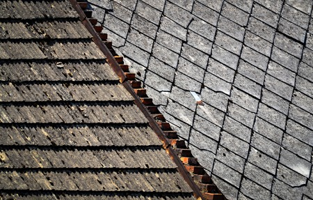 hail: background or texture Two types of old roofs Stock Photo
