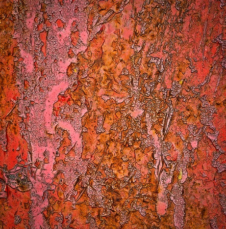 abstract background or texture the old red peeled paint color Stock Photo