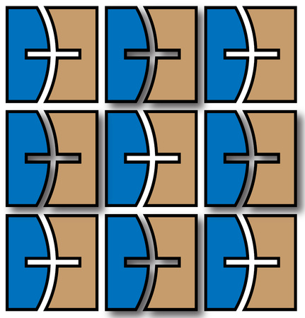 the abstract background illustrated with a squared board pattern of blue and brown