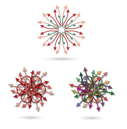 mishmash: three arrows chaotic colorful flower mandala