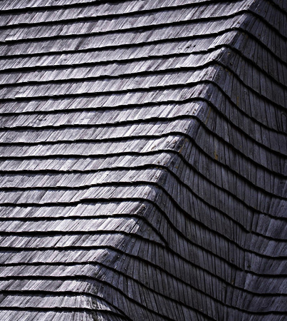 shingle: background or texture old damaged wooden shingle roof Stock Photo