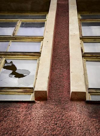 broken glass window: architectual background the broken glass window
