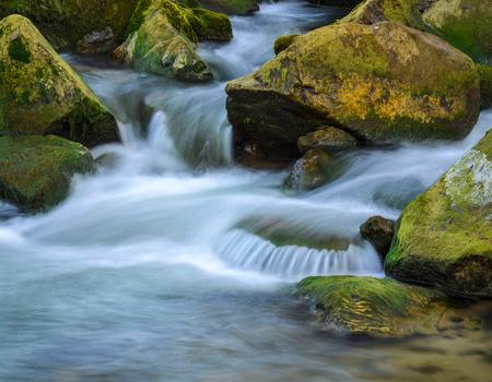 abstract background autumn mountain stream river Stock Photo