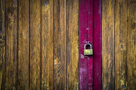 abstract background or texture locked wooden door Stock Photo