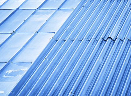 abstract background or texture blue two types of metal roofs Stock Photo