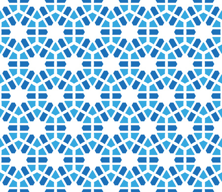 winter stylized: abstract background or textile hexagonal winter pattern with stylized snowflakes