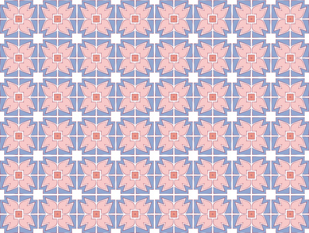 abstract background medieval rose textile pattern pink and blue color Stock Photo