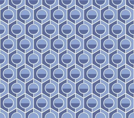 hexagonal with a circle in the middle of a textile pattern blue Stock Photo