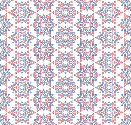Abstract background or textile Winter blue pink star pattern Stock Photo