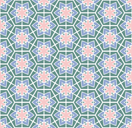 flowered: Abstract background or textile retro green pink flowered pattern Stock Photo