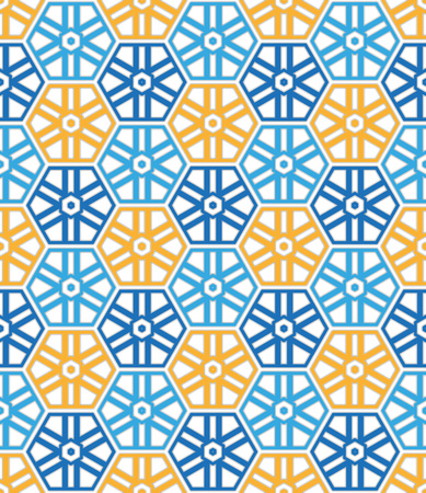 hexagonal pattern: abstract background or textile Blue and orange color hexagonal pattern