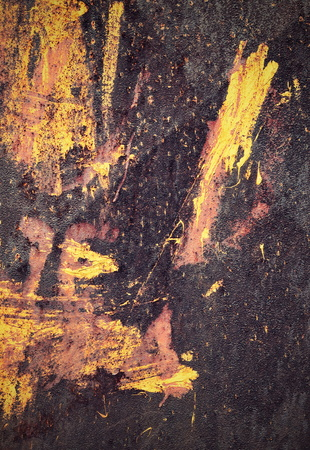 scribbles: abstract background or texture colorful scribbles on a rusty metal plate Stock Photo