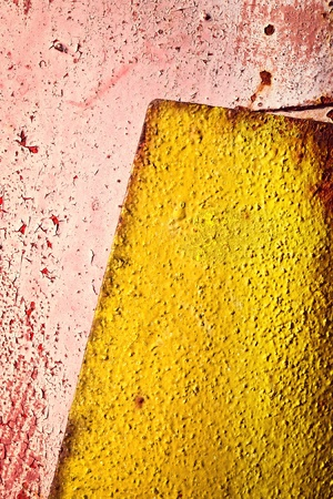 abstract background or texture old yellow plate on red
