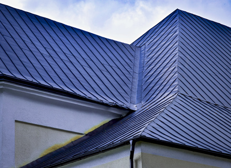 architectural detail indented blue metal roof