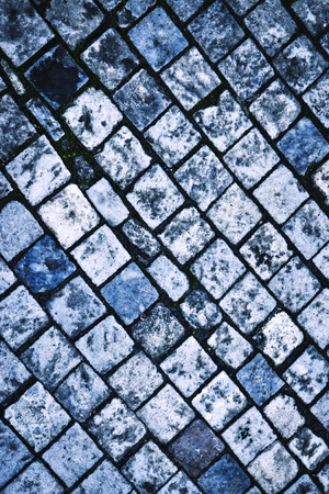 abstract background or texture blue colored stone paving blocks