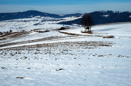 seasonal background winter landscape with gradually melted snow