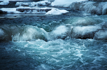 winter nature background Cascade on the frozen river wild