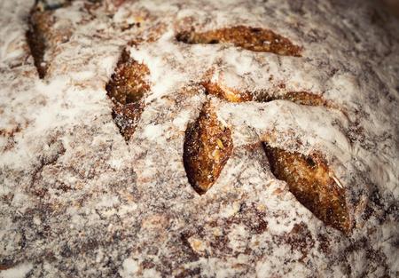 deatil food background or texture crust baking sourdough bread