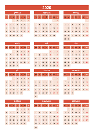 small slovak calendar for 2020 red color