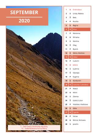 background Slovak calendar with names for September 2020 Stock Photo