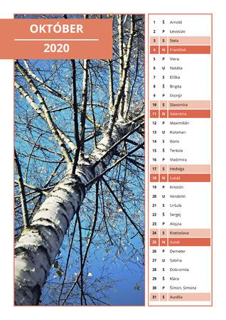 background Slovak calendar with names for October 2020
