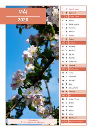 background Slovak calendar with names for May 2020 Stock Photo