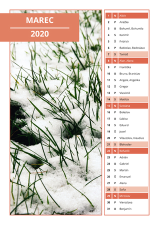 background Slovak calendar with names for March 2020