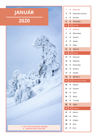 background Slovak calendar with names for January 2020