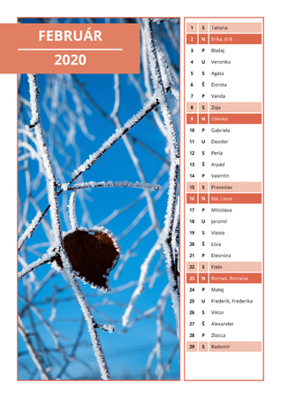 February Calendar Background 2020 Background Slovak Calendar With Names For February 2020 Stock