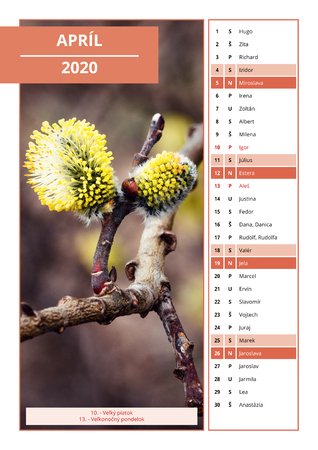 background Slovak calendar with names for April 2020 Stock Photo